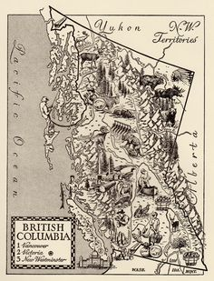 Charming BRITISH COLUMBIA Map of British Columbia Canada Map WHIMSICAL  Vintage 60s Picture Map Gift for Map Collector Birthday Wedding 3440 by plaindealing on Etsy