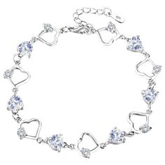 EleQueen 925 Sterling Silver CZ Love Heart of Ocean Titanic Inspired Tennis Bracelet, 7.2' 1.2' Extender -- Quickly view this special jewelry, click the image : Jewelry