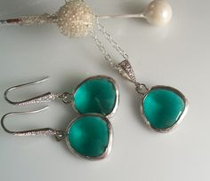 Teal Necklace and Earring Matching Set Bridal by LaBelleGem, $45.00