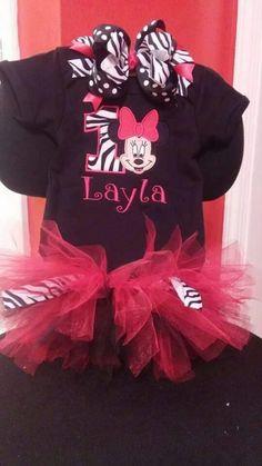 Custom. Minnie Mouse. Birthday Shirt. Tutu. Zebra. Red. Hairbow. Braylee's Sew Sweet Boutique.