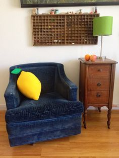 Lemon Large Pillow Giant Fruit Cushion for Cool by jumbojibbles  couch cushions, home decor, kawaii, silly, kids rooms