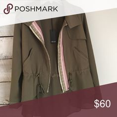 Greylin army green jacket! this is the perfect little jacket to dress any outfit up with the detailing and ruffling! Greylin Jackets & Coats Utility Jackets
