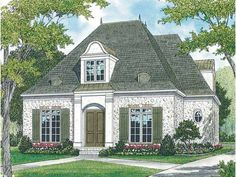 Eplans House Plan: This enchanting stone cottage is a beautiful example of French country living. Inside, a dining room and study/guest suite flank the foyer. A hall niche is ready to display your treasures. Past the powder
