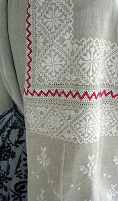 White, Black and Red Embroidery of Chernyhiw Province and East Polissia, Ukraine Hungarian Embroidery, Types Of Embroidery, Folk Embroidery, Embroidery Fashion, White Embroidery, Cross Stitch Embroidery, Embroidery Patterns, Ukraine, Cross Stitch Borders
