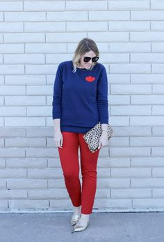Easy and casual Valentine's Day outfit with red Old Navy Pixie pants, Sole Society glitter flats, and a heart graphic sweatshirt; The Weekly Style Edit fashion link up