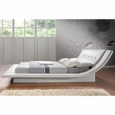 Wholesale Interiors BBT6164-White-King Bed Calyx White Modern Bed with Curved Headboard-King Size