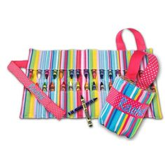 Personalized Pink Stripe Crayon Keeper Caddy with Embroidered Name