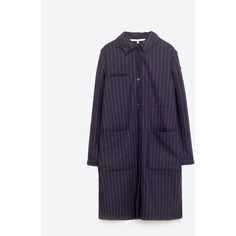 STRIPED CLOTH OVERSHIRT - Coats-OUTERWEAR-WOMAN | ZARA Serbia (€28) via Polyvore featuring outerwear, coats, purple coats, over shirt, striped coat y stripe coat