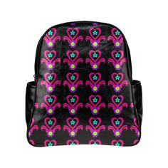 Neon Heart Flower Pot Multi-Pockets Backpack (Model 1636)