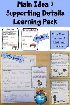 Posters, graphic organizers, and task cards to help teach main idea and details. Task cards come with and without questions. #taskcards #readingcomprehension #esl #esol #teachersfollowteachers #teacherspayteachers #tpt
