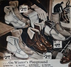 History of winter, rain, and snow vintage boots from the and Tips on buying vintage style winter boots. Winter Fashion Boots, Ski Fashion, 1930s Fashion, Women's Summer Fashion, Vintage Fashion, Vintage Style, 1940s Style, Vintage Inspired, Vintage Items