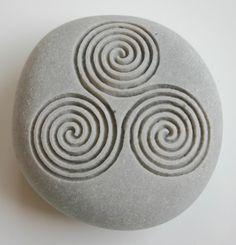 Newgrange Triple Spiral Engraved Light Grey Stone