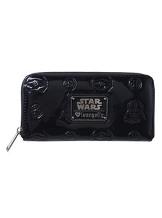 Black patent faux leather wallet from Star Wars with embossed Dark Side details.