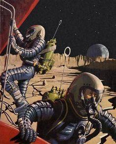 Pierre Joubert - Satellite Lune, / The Science Fiction Gallery Science Fiction Kunst, 70s Sci Fi Art, Classic Sci Fi, Vintage Space, Futuristic Art, Sci Fi Books, Pulp Art, Fantastic Art, Sci Fi Fantasy