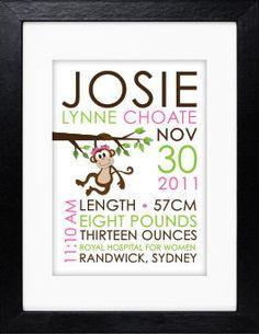 Custom Birth Print for nursery Monkey Girl via Etsy