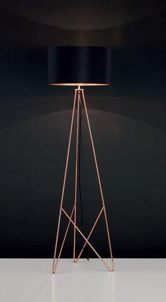 Lampa podłogowa Eglo Camporale 1x60W E27 miedz/czarna 39229