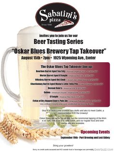 Oskar Blues Tap Takeover @ Sabatinis 8/15 (Firkin of Dry-Hopped Dale's Pale Ale)