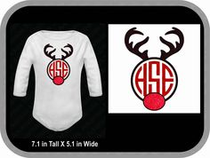 Rudolph red nose antler monogram baby body suit, creeper. Short sleeve only. - pinned by pin4etsy.com