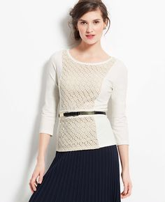 Ponte Lace Inset Top