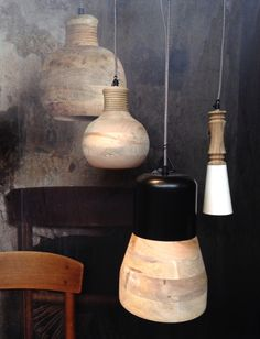 Wooden lamps. Be Pure by Basic Label. Woonbeurs 2014 Amsterdam. Photo: Lichtinspiratie