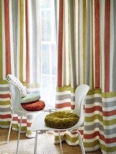 Jane Churchill's Field Stripe (drapes),  Woodbury (chair), Cornelia (pillow), Medley Spot (pillow), Honeycomb (pillow) #interiors #janechurchill #textiles