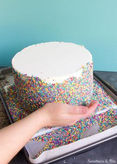 7 Easy Cake Decorating Trends For Beginners 2019 Sprinkle Cake Tutorial A step by step guide to applying sprinkles to a fondant covered cake Sweetness and Bite The post 7 Easy Cake Decorating Trends For Beginners 2019 appeared first on Birthday ideas. Easy Cake Decorating, Birthday Cake Decorating, Cake Decorating Techniques, Cake Decorating Tutorials, Decorating Ideas, Diy Birthday Cake, Rainbow Birthday, Girl Birthday, Simple Birthday Cakes