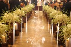 i like the babys breath and then candles Wedding Church Aisle, Wedding Aisles, Church Aisle Decorations, Wedding Decorations, Flora Flowers, Aisle Style, Church Interior, Wedding Inspiration, Wedding Ideas