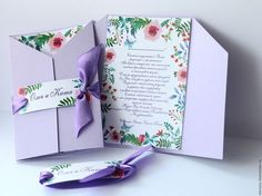 """Купить Свадебные приглашения """"Сиреневые"""" с цветами - пригласительные, приглашения на свадьбу, приглашения, свадебные приглашения"""
