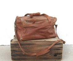 Vintage Worn In Tan Leather Duffle Travel Bag by Trustfund21