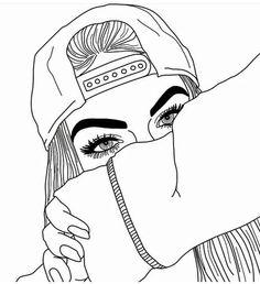 gambar girl, outline, and drawing