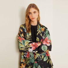 MANGO | Veepee Kimono Jacket, Print Jacket, Kimono Top, Kimono Style, Mango Online Shop, Moda Kimono, Moda Mango, Mango France, Kimono Outfit