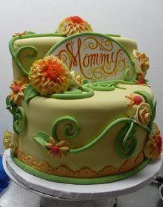 Torta per la festa della mamma con garofani in pasta di zucchero