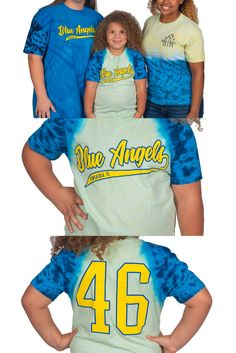 """BLUE ANGELS YOUTH TIE DYE Unisex YOUTH Tshirt SIZES: XS - XL Various shades of Blue and Yellow. (see note below regarding dying process) """"Blue Angels"""" """"Pensacola"""" on front """"46"""" on back (Through the dying process, each shirt is a unique item. Some items may appear 'green' as yellow + blue = green. Inking on shirts may seem as a 'blemish' but are part of the natural dying process.) Us Navy Blue Angels, Blue Green, Yellow, Shades Of Blue, Tie Dye, Youth, Unisex, Natural, T Shirt"""