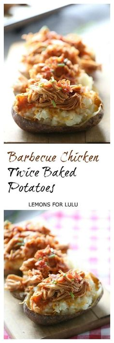 Cheesy potatoes are twice baked and served with bacon, cheddar, whisky bbq sauce barbecue chicken! lemonsforlulu.com