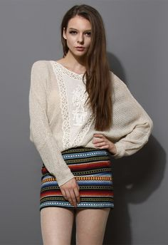 Crochet Floral Oversize Kint Top in Ivory $49.90 http://www.chicwish.com/crochet-floral-oversize-kint-top-in-ivory.html #Chicwish