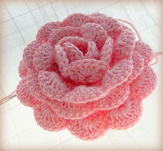 A pink crochet rose by KatiCrafts