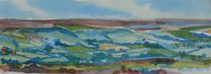 The North Yorkshire Moors. Watercolour painting by artist Yorkshire artist Paul Davies. Signed mounted prints available direct from the artist. 35x15cm. Price 15 Euros + postage