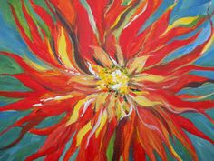 Dalia Big As MarsSquare Foot Flower Painting by cscape on Etsy, $70.00