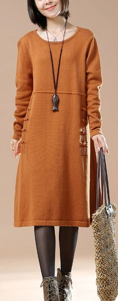 Orange plus size women sweaters knitted dresses
