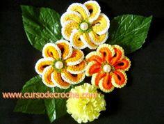 Flores de argolas em crochê - Edinir-Crochê