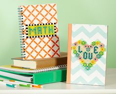 Adding Perler bead designs to school notebooks or journals is a fun way to go from dull to dynamite! Create your own designs for other school subjects.