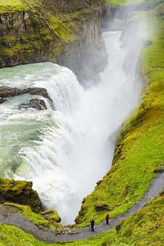 Gullfoss Waterfall, Iceland. One of the most impressive waterfalls in the world and a very popular tourist attraction in the country (part of the golden circle)