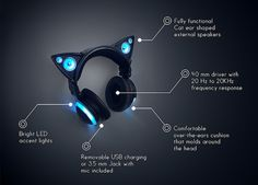 Cute Anime-Inspired Headphones With External Cat Ear Speakers That Glow - DesignTAXI.com