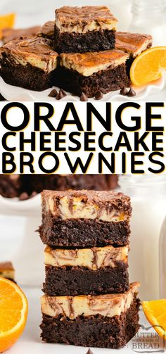 Orange Cheesecake Brownies made with a. Orange Cheesecake Brownies made with a delicious orange cheesecake layer that is swirled with a simple brownie mix. The orange and chocolate combination is absolutely incredible! Cheesecake Brownies, Cheesecake Desserts, Köstliche Desserts, Best Dessert Recipes, Vegan Recipes Easy, Sweet Recipes, Baking Recipes, Cookie Recipes, Delicious Desserts