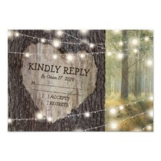 Carved Heart Tree Wedding RSVP Card -  Rustic outdoor wedding rsvp cards with a romantic woodland setting, string twinkle lights, an old rustic tree with a carved... #custom #print on demand art themed #gift #invitation design by #special_stationery - #invitation #kindlyreply #weddingrsvp #carvedhearttreewedding #treeweddingrsvp #twinklelightsweddingrsvp #stringoflights #woodlandrsvp #heart #rustic #country #tree #trees #wood #wooden #bark #trunk #outdoor #backyard #woodlands #wedding…