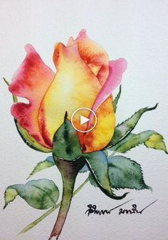 Painting is a real good stress buster. There are hundreds of Easy Watercolor Painting Ideas for Beginners that you can try out without any hassle. Find Art 55 Very Easy Watercolor Painting Ideas For Beginners - FeminaTalk Watercolor Rose, Watercolor Cards, Watercolor Landscape, Watercolour Pencil Art, Simple Watercolor Flowers, Watercolor Sunset, Sunset Landscape, Mountain Landscape, Landscape Paintings