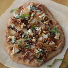 Caramelized Pear and Gorgonzola Cheese Flatbread