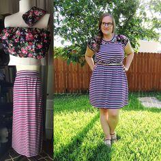 Stripes and Floral Dress Refashion | CarissaKnits.com