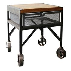 Industrial side table on trolley wheel with tray in mango wood