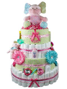 Blooming Elephant Baby Girl Diaper Cake - Baby Gifts